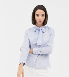 40b4748b357 Голубая блузка из шамбре с бантом на воротнике Esprit - Синий