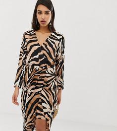 Платье миди с запахом и тигровым принтом River Island - Мульти