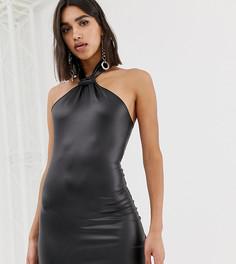 Черное платье мини из искусственной кожи Missguided - Черный