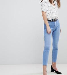 3ac378a47a4 Супероблегающие джинсы с завышенной талией и необработанным краем New Look  - Синий