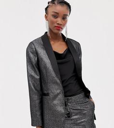 Серебристый атласный блейзер-смокинг New Look - Серебряный