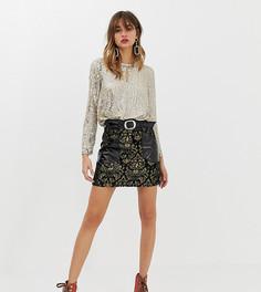 Черная жаккардовая юбка с накладными карманами из искусственной кожи River Island - Черный