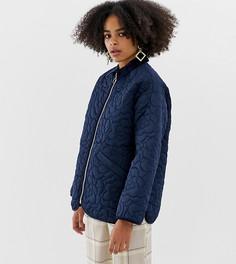 Темно-синяя стеганая куртка на молнии Monki - Темно-синий