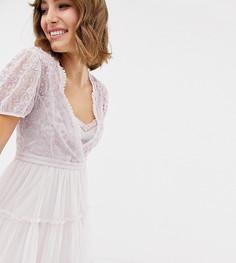 Платье миди из тюля с вышивкой Needle & Thread - Фиолетовый