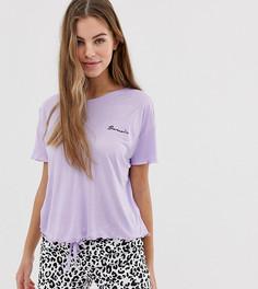 Сиреневый пижамный комплект с шортами и надписью bonsoir New Look - Фиолетовый
