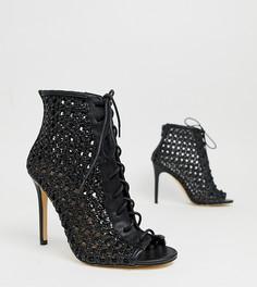 Черные плетеные ботинки на каблуке Miss Selfridge - Черный