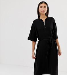 Черное свободное платье с молнией Weekday - Черный