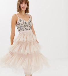Светло-розовое ярусное платье миди из тюля с вышивкой Needle & Thread - Розовый