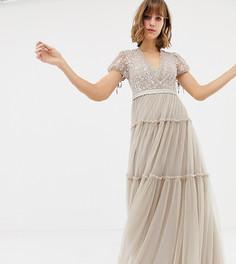Тюлевое платье макси с короткими рукавами и вышивкой Needle & Thread - Розовый