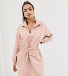 Розовое платье-рубашка в стиле oversize с молнией Missguided - Розовый