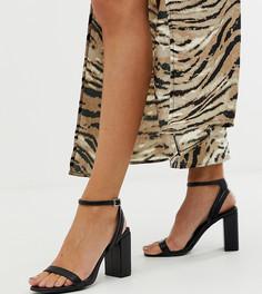 Черные босоножки из полиуретана на блочном каблуке New Look - Черный