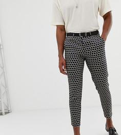Черные жаккардовые укороченные брюки облегающего кроя Heart & Dagger - Черный