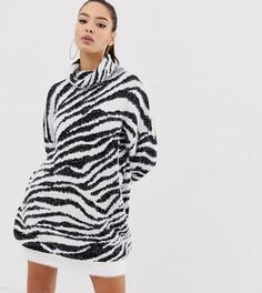 Платье-джемпер с отворачивающимся воротом и принтом зебра Missguided - Белый