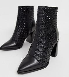 Черные кожаные плетеные ботинки с острым носком River Island - Черный