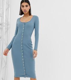 Синее платье миди с застежкой на кнопки Missguided - Синий
