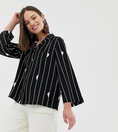 Блузка в полоску с карманом спереди Monki - Черный