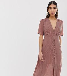 Шифоновое платье миди на пуговицах с принтом Missguided - Мульти