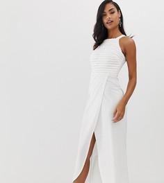 Белое платье макси с пайетками на топе и запахом на юбке Scarlet Rocks - Белый