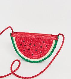 Розовая соломенная сумка с дизайном в виде арбуза Pull&Bear - Розовый