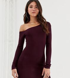 Трикотажное платье сливового цвета на одно плечо Missguided - Коричневый