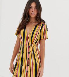 Свободное платье в полоску оранжевого цвета с пуговицами Missguided - Мульти