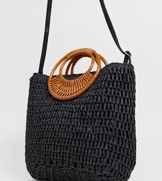 Черная плетеная соломенная сумка New Look - Черный