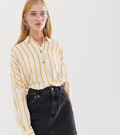 Свободная блузка в полоску оранжевого и бежевого цвета Monki - Мульти