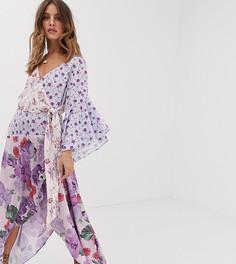 Асимметричное платье мидакси с оборкой и цветочным принтом White Sand - Мульти