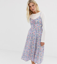Платье миди с завязкой и цветочным принтом New Look - Мульти