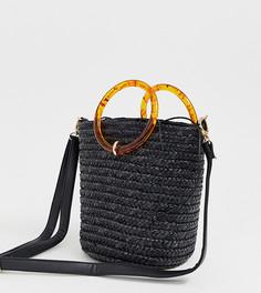 Черная соломенная сумка с резиновыми ручками New Look - Черный