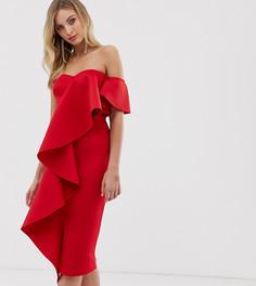 Эксклюзивное красное платье-бандо миди с оборкой True Violet - Красный