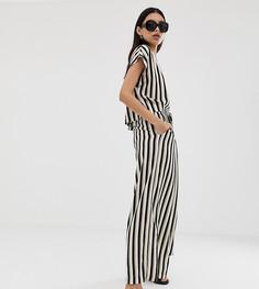 Комбинируемые свободные укороченные брюки в монохромную полоску Weekday - Мульти