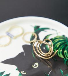 Белая декоративная фарфоровая тарелка с принтом листьев и кота Monki - Белый