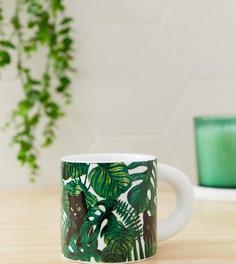 Зеленая кружка с принтом котов и листьев Monki - Зеленый