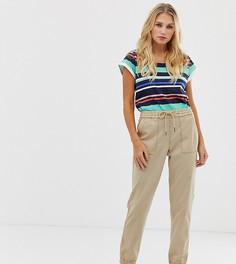 Бежевые брюки на манжетах из ткани с добавлением льна Esprit - Бежевый