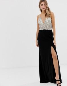 Платье макси на лямках с отделкой лифа и разрезом сбоку Jovani - Черный