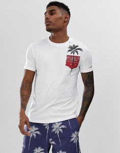 Белая футболка с круглым вырезом и принтом пальм Replay - Белый