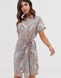 Длинное платье-рубашка с принтом пейсли Vila - Мульти