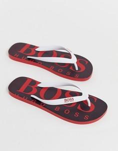 Красные шлепанцы с логотипом BOSS - Красный