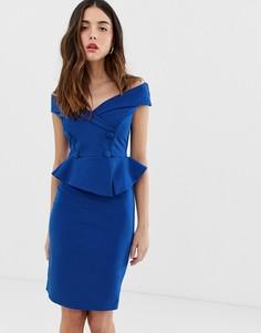 Платье-футляр с баской и открытыми плечами City Goddess - Синий