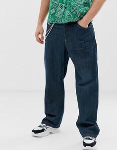 Темные широкие джинсы с цепочкой Diesel D-Vided 088AC - Синий