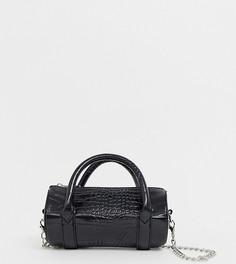 Черная сумка мини с отделкой под крокодиловую кожу PrettyLittleThing - Черный
