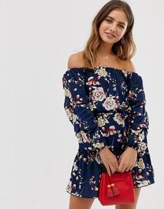 Темно-синее короткое приталенное платье с открытыми плечами и цветочным принтом Parisian - Темно-синий