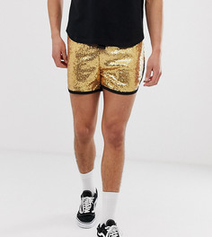 Фестивальные шорты с пайетками золотистого цвета Reclaimed Vintage - Зеленый