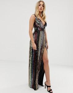 Платье макси в полоску с пайетками и боковым разрезом Club L - Мульти