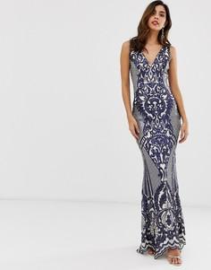 Платье макси с отделкой City Goddess - Темно-синий