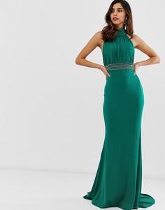 Платье макси с декоративной отделкой на талии City Goddess - Зеленый
