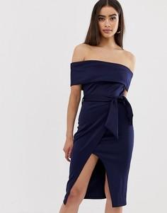 Платье миди с открытыми плечами и поясом Club L - Темно-синий