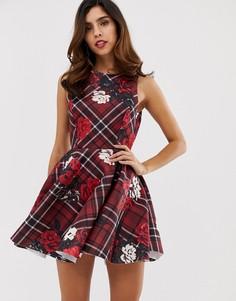 Короткое приталенное платье в клетку с цветочным принтом City Goddess - Красный