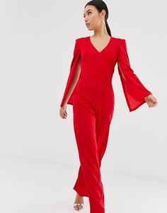 Комбинезон с кейпом и широкими штанинами AX Paris - Красный